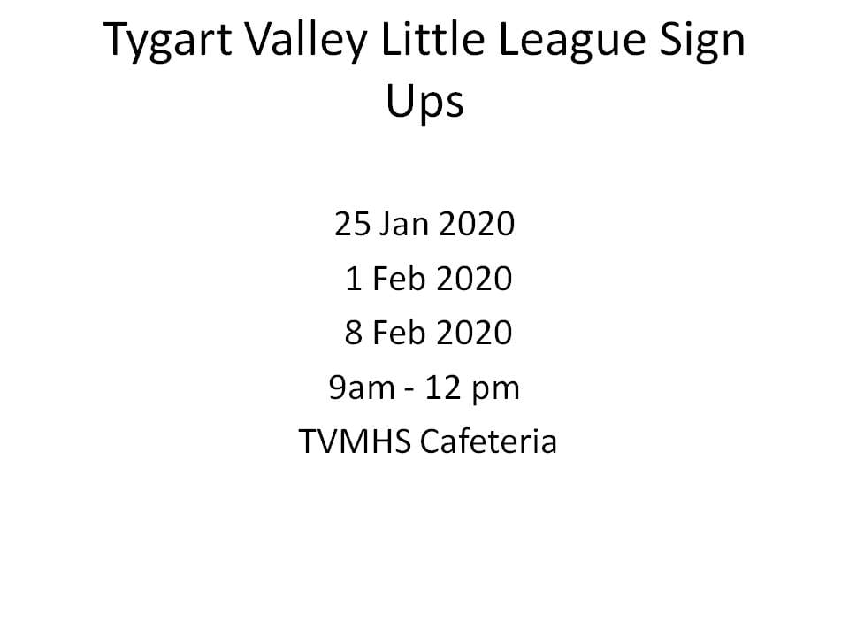 This image has an empty alt attribute; its file name is Tygart-Valley-Little-League-Sign-Ups.jpg